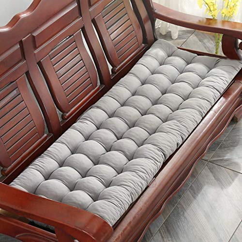 N / A Thicken Solid Color Cushion Bench, No Soft-slip cushions Long From To Chair The Rocking Chair Cushion Reclining Sofa, Indoor Outdoor Patio Bench Cushions For Living With The Ties,Grey,48-.