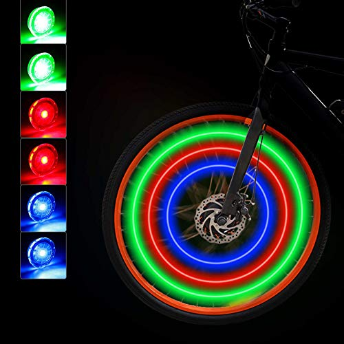 Mudder Bike Wheel Lights Cycling LED Waterproof Bike Spoke Lights Colorful Bicycle Wheel Lights 3 Colors Bike Tire Spoke Light with Batteries Included for Safety Cycling Decoration (6)