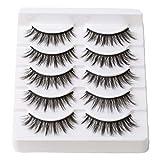 Arimika Natural 3D Faux Mink False Eyelashes- Lightweight Strip Lashes 5 Pairs N01