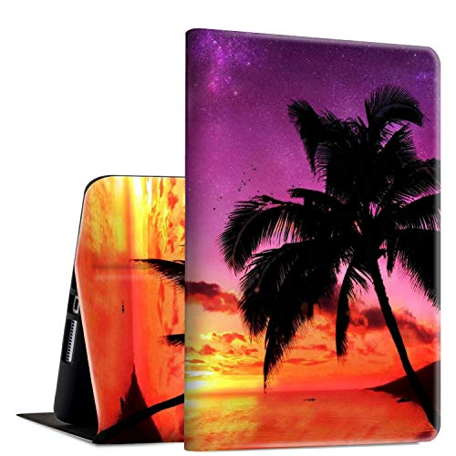 iPad 9.7 2018/2017 Case,iPad Air 2/iPad Air Case, Rossy PU Leather Folio Smart Cover Shock Case with Adjustable Stand & Auto Wake/Sleep Feature for Apple iPad 6th/5th Gen,Beach and Palm Tree