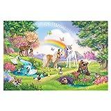 Carta da parati adesiva - Foresta Incantata Con Unicorno 255 x 384 cm