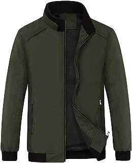 Men's Casual Lightweight Stand Collar Full Zip Bomber Jackets Coat
