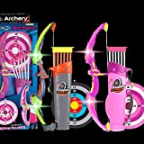 2 Sets Archery Bow and Arrow for Kids Outdoor Hunting Game with Quivers and Targets - LED Light Up Archery Sets for Boys Girls Teens for Age 3+, Indoor and Outdoor Garden Game and Birthday Gift