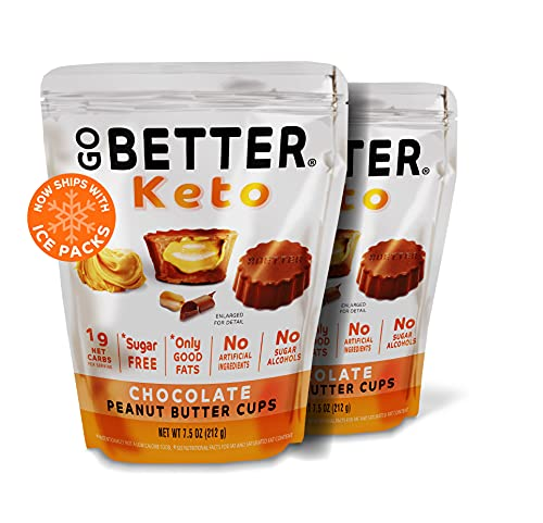 GO BETTER | Keto Chocolate Peanut Butter Cups | 50 Cups | 1g Net Carb, No Sugar, No Sugar Alcohols, No Artificial Ingredients, No Preservatives, Gluten Free | 7.5 oz (Peanut Butter Cups, 2 Bags)