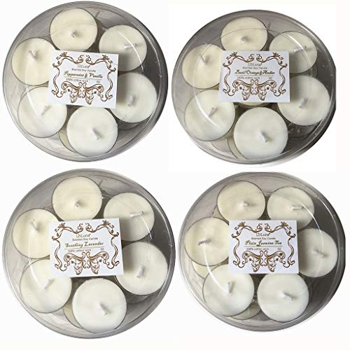 Scented Tea Light Candles Gift Set - 100% Natural Soy Wax Candles in Clear Cup 112 Packs-Over 4 Hours Burning-Lavender,Jasmine, Basil Orange,Vanilla Peppermint