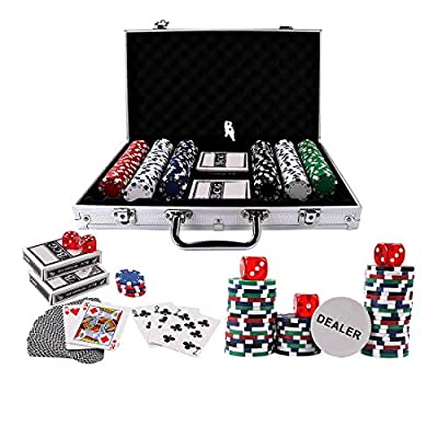 Doublefan Poker Chips Set, Heavy Duty 11.5 Gram Clay Poker Chips Set Texas Holdem Blackjack Gambling Chips Aluminum Case (300psc)