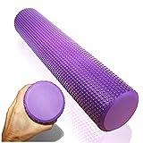 Rollo de fascia suave para el tratamiento del dolor de fascia por auto masaje; Rodillo de masaje, Ø9.5cm x43cm violeta; Dispositivo de entrenamiento profesional para masaje de puntos gatillo,