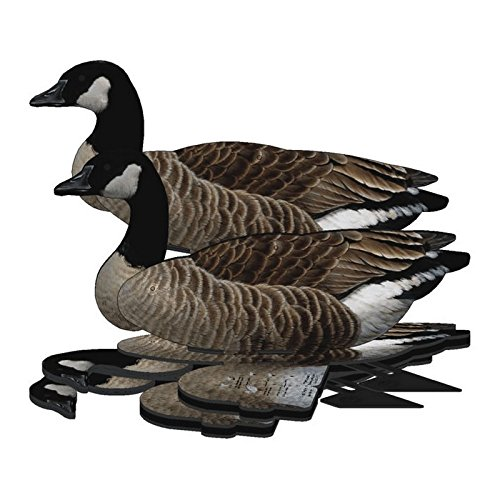 Lesser Canada Goose Decoy - 6-Pack Foldable Lesser Canada Goose for Hunting - Land and Water Use - Waterproof, Shot-Proof - Realistic UV Decoy Paints - Includes Anchors, Anchor String and Fudslinger