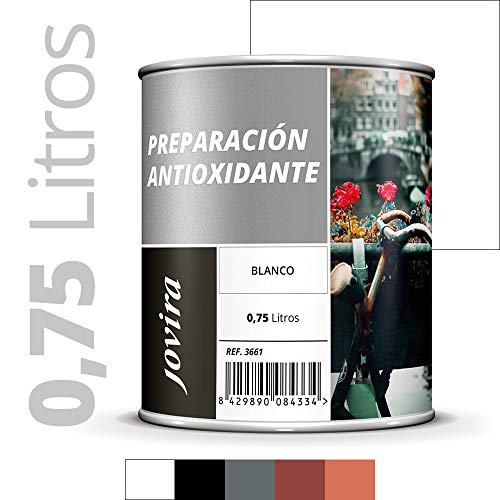 IMPRIMACION ANTIOXIDANTE METAL, Pintura tratamiento superficies de metal anti oxido. Imprimacion uso general, Proteccion total. Anti oxidante. (750ML, BLANCO)