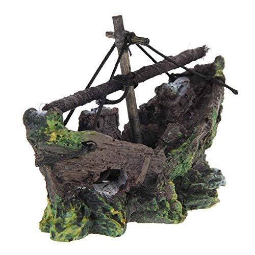LISAQ Figura de barco hundido en miniatura para acuario