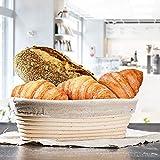 Brot Korb Gärkörbchen für Selbstgebackene Brote Brotschale Brotform Gärkorb Oval Handgefertigter Rattan-Korb mit Leineneinsatz und Teigschaber [TYP B]