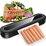 Sross Vacuum Sealer Machine, Automatic Food Sealer for Food Savers w/Starter Kit, 15 Pcs Vacuum Bags, Automatic Vacuum Air Sealing System Led Indicator Lights, Dry & Moist Food Modes (A)