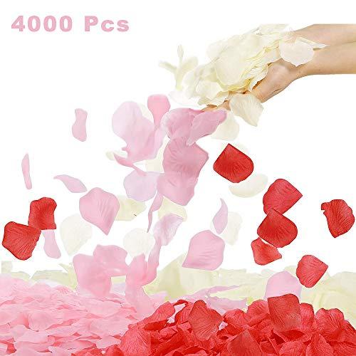 4000 pétalos de rosa artificiales de seda de varios colores, pétalos
