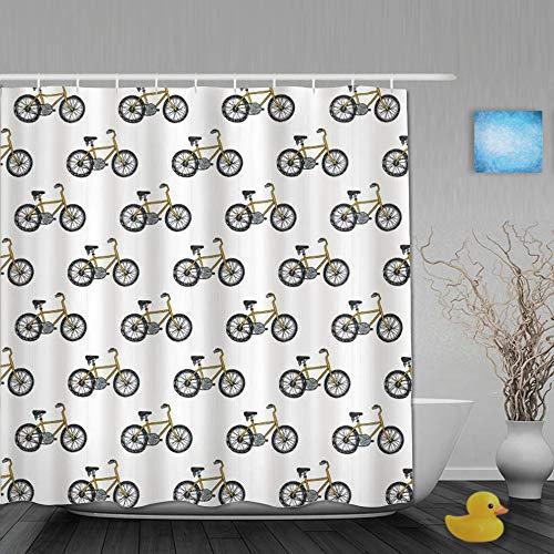 Honeytecs Duschvorhang,Fahrrad Hand gezeichnete Doodle Radfahren Thema Muster der gelben Fahrrad Freizeit Hobby Street Art,Stoff Badezimmer Dekor Set mit Kunststoffhaken, enthalten - 180x180cm