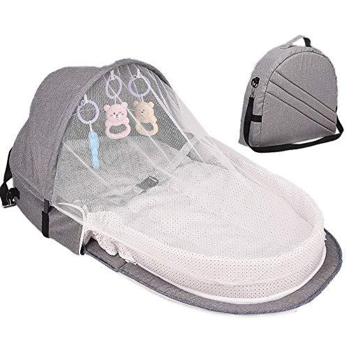 Yankuoo Baby Slaapmandje, Draagbare baby rugzak, wieg reisbed, opvouwbare zonnebrandcrème ademende muggennetje Grijs