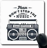 Alfombra Oblong 80S Música 90 Insignia Boombox Vintage 90S Radio Inspiración Cita Retro Diseño en negro Cassette Computadora de oficina Portátil para computadora portátil Alfombrilla para ratón, Goma
