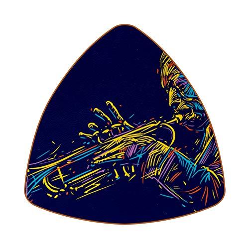 Jazz Trumpet Player Colorful Jazz Music Juego de 6 Posavasos para Bebidas para el hogar, Taza, Botella, Taza, café, Cerveza