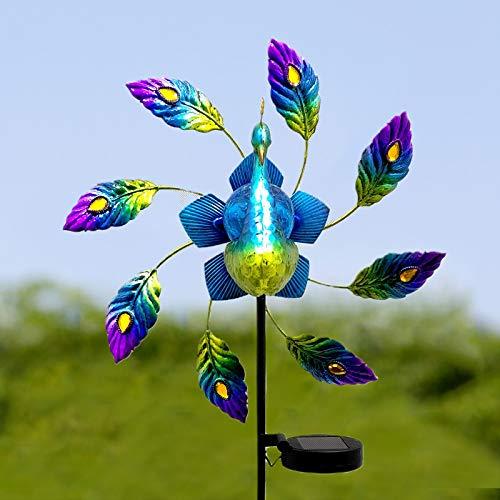 Metallpfau Solar Led Windrad, fasloyu Solar Light Gartenleuchte Windspiel, Gartendeko Gartenleuchtung Windmühle für Garten, Terrasse und Balkon (A)