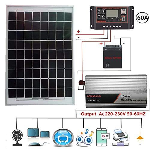 feiledi Trade 1000W 230V Solarpanel Kit, mit 20W 21V polykristallinem Solarpanel + 40A / 50A / 60A LCD Solarregler + 800W 230V Solar Inverter
