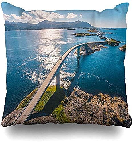 SSHELEY Kussensloop Zomer Luchtvaarteilanden Drone Europe Shot Noorwegen Geweldige Wereld Beroemd in Natuur Weg Landmarks Kussensloop