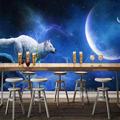 3D Fotomurales No Tejido Mural Lobo De Noche Salón Dormitorio Despacho Pasillo Decoración Murales Decoración De Paredes Moderna 300X210CM