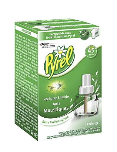 Pyrel Recharge pour Diffuseur Électrique Liquide, Anti-Moustiques, 45 Nuits, Insecticide - Lot de 4