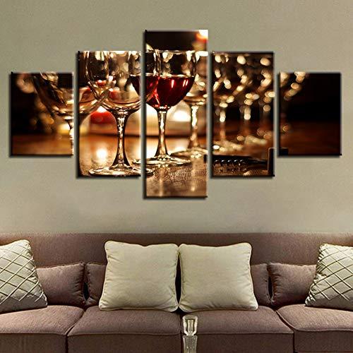 TBDZPS Modular Wanddekoration, Leinwand, 5 Glaspaneel, Rotweinfarbe, Wand, für Wohnzimmer, modernes Design