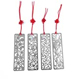 yueton Pack of 4 Classical Hollow Out Flower Style Metal Bookmark with Red Knotting Strap