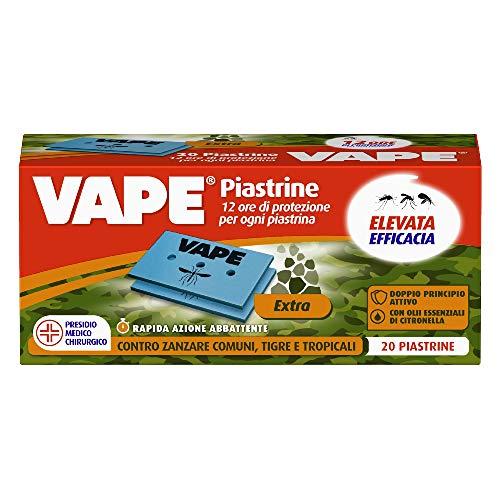 Vape Piastrine Extra, Doppio principio attivo, Protezione Rapida Contro Le Zanzare comuni e tigre, Fino A 12 Ore, 20Pz