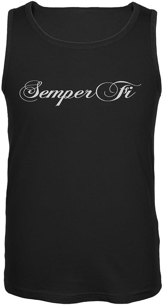 Old Glory Semper Fi Script Black Adult Tank Top