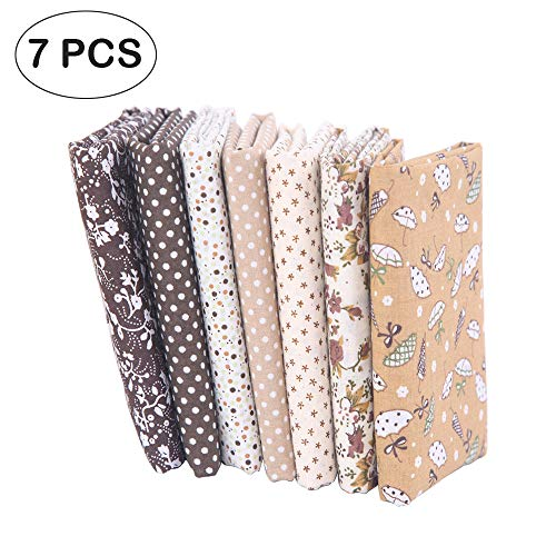 7 piezas de telas de algodón paquete de tela 50x50cm para patchwork costura DIY Sin diseño repetido flores impresas (marrón)