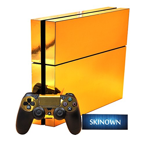 SKINOWN PS4 Skins Golden Skin Gold Sticker Vinly Decal Cover for Sony PS4 Playstation 4 Console and Controller