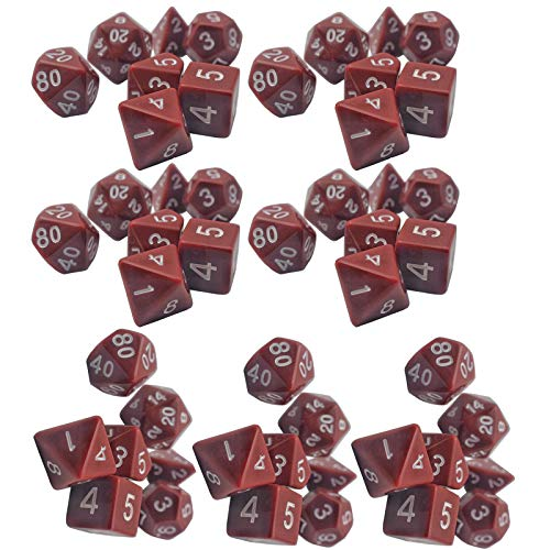 LIUXING-Home Würfelset Braun Multi-seitige Würfelspiel Set Würfel (7 Sätze) 16mm Multi-seitige massivfarbige Würfel-Set Magische Tischspiele (Color : Brown, Size : 16mm)