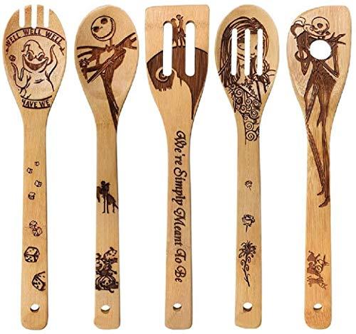 UKtrade Juego de 5 cucharas de madera quemadas Idea utensilio para calentar la casa, regalo de boda, cuchara ranurada