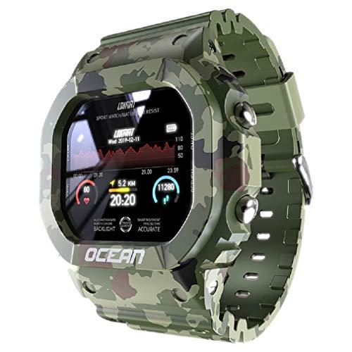 Relógio Lokmat relógio inteligente de fitness rastreador pressão arterial mensagem empurrar monitor de freqüência cardíaca relógio smartwatch masculino feminino para dropshiping (Verde-Militar)