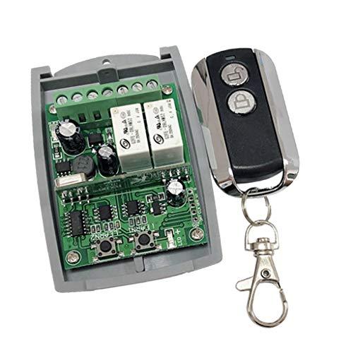 joyMerit Interruptor de Control Remoto Inalámbrico de 433Mhz - Módulo Receptor de Relé de 2 Canales, con Transmisores de RF para Puertas de Garaje, Ventanas, E