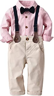 iZHH Toddler Baby Boys Fashion Striped Gentleman Bowtie Shirt Overall Pants Sets