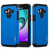 J&D Case Compatible for Galaxy J3 / J3 2016 / J3 V/Amp Prime / J3 Sky/Express Prime Case, Heavy Duty [Dual Layer] Hybrid Shock Proof Protective Rugged Bumper Case for Samsung Galaxy J3 Case - Blue