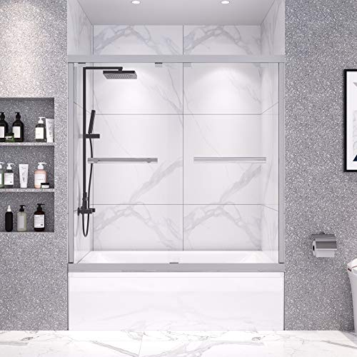 DELAVIN 56-59 in. Frameless Sliding Tub Door, Shower Door, Bypass Bathtub Door, Tub Shower Door, SGCC Tempered Glass Door with Explosion-Proof Film, Stainless Steel, Aluminum
