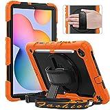 Timecity Funda Compatible con Samsung Galaxy Tab S6 Lite 10.4'2020 / SM-P610/ P615, con Protector de Pantalla Incorporado y Pata de Cabra Giratoria de 360 Grados y Correa de Mano y Hombro - Naranja