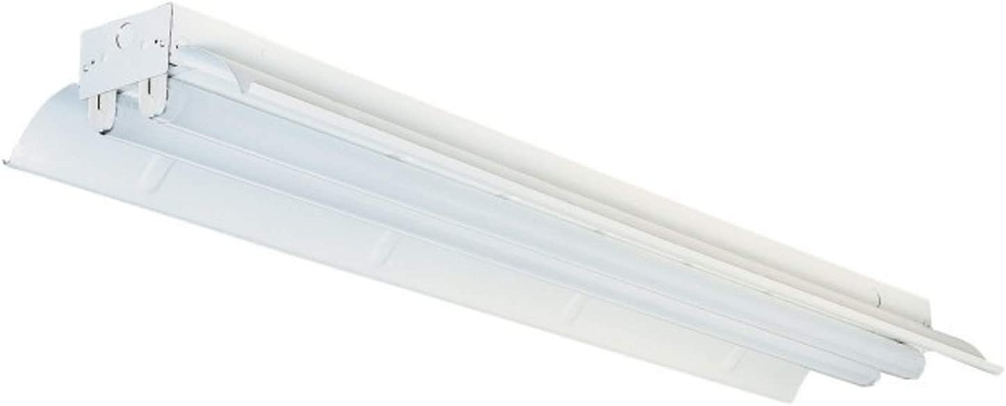 Alpha Commercial T8 T10 T12 LED Fixture Light Bulbs Clear Lens 4FT 18W 6500K Cool White Bright Dual End 4 FT Fluorescent Lamp Ballast Bypass Home Office Shop Includes 2 Bulbs (Clear Lens, Deflector)