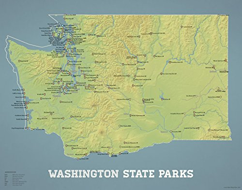 Best Maps Ever Washington State Parks Map 11x14 Print (Natural Earth)