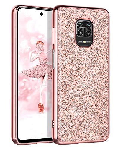 BENTOBEN Funda Xiaomi Redmi Note 9S,Carcasa Redmi Note 9 Pro Purpurina Cover Ultra Delgada Brillante Resistente Silicona PC...