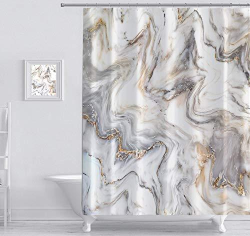 Chic D Marmor-Duschvorhänge mit Haken, Tinten-Textur-Muster, grafisches Polyestergewebe, Badezimmer-Duschvorhang-Sets mit 12 Ringen, 91,4 x 182,9 cm