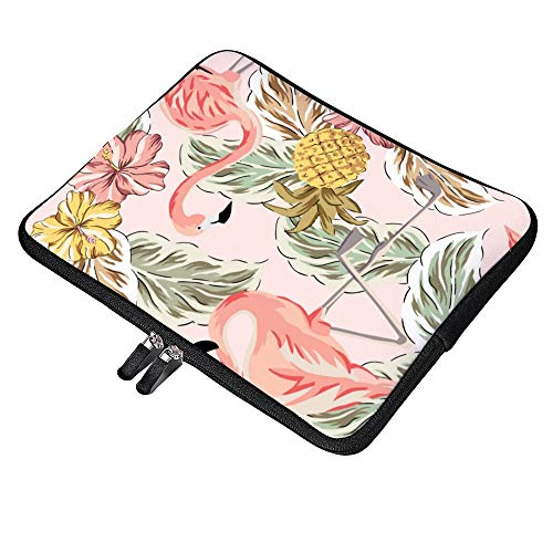 Pink Flamingos Pineapples 10 Inch Laptop Sleeve Case Protective Cover Carrying Bag for 9.7' 10.5' iPad Pro Air/ 10' Microsoft Surface Go/ 10.5' Samsung Galaxy Tab