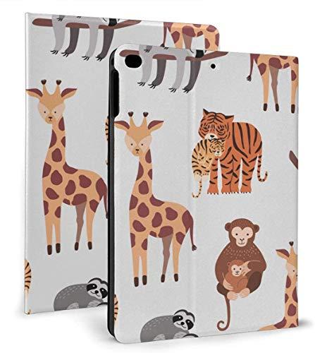 Cute and Funny Cartoon Zoo Animals PU Leather Smart Case Auto Sleep/Wake Feature for iPad Mini 4/5 7.9'& iPad Air 1/2 9.7' Case