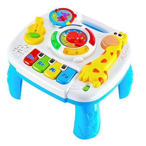 HERSITY Baby Musikspielzeug Spieltisch Musik Lerntisch Aktivität Tisch Spielzeug Activity Table Geschenk für Kleinkinder Kinder Kinderspielzeug ab 18 Monaten 1 Jahr