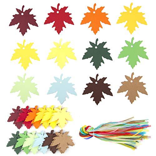 LUTER 120 Piezas Etiquetas De Regalo De Hoja De Arce De 12 Colores, Con 120 Cintas Para Colgar Multicolores, Para Bodas, Acción De Gracias, Halloween, Decoraciones Para Fiestas