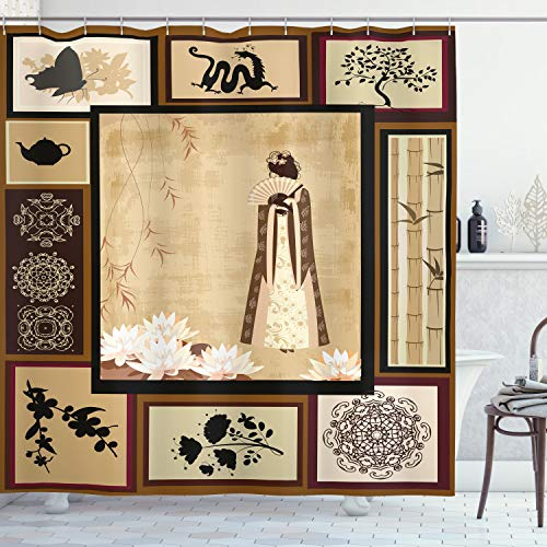 """Ambesonne Japanese Shower Curtain, Girl in Traditional Dress and Cultural Patterns Ornaments Antique Eastern Collage, Cloth Fabric Bathroom Decor Set with Hooks, 70"""" Long, Cream Brown"""