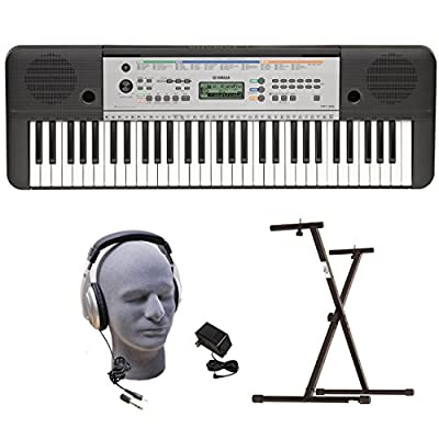 Yamaha YPT255 PKY 61-Key Premium Keyboard Pack with Headphones, Power Supply, Upgraded Secure Bolt-On Stand